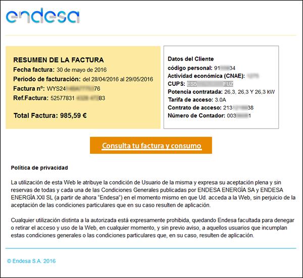 Nuevo ataque phising mediante una factura falsa de Endesa