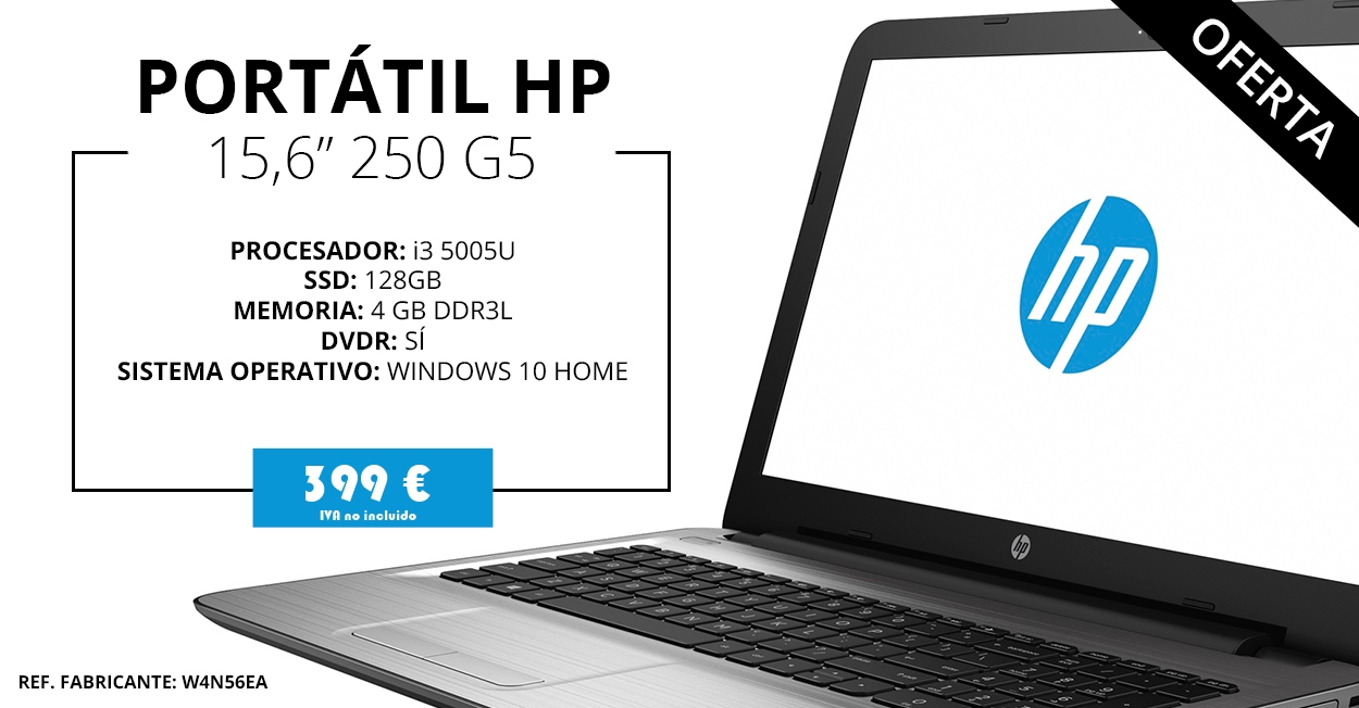 OFERTA: HP 250 G5 - Intel i3 - SSD 128 GB - 4 GB DDR3 - WINDOWS 10