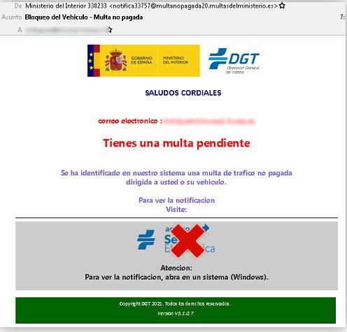Peligro: Virus Multa DGT (Dirección General de Tráfico)
